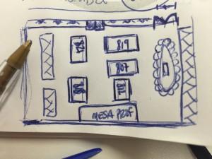 Dibujo detalle mesas en el Anatomy Lab
