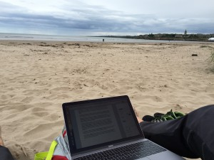 Writing at the  West Sand Beach